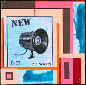 Speaker No. 1. Randell Neudorf (c) 2005 Acrylic Paint & Collage on Canvas 8x8in.