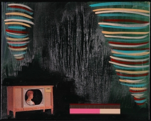 Colour Adjustment No. 3. Randell Neudorf (c) 2005 Acrylic Paint & Collage on Canvas 20x16in.