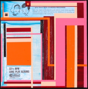 LP No. 9.  Randell Neudorf (c) 2005  Acrylic Paint & Collage on Canvas  12x12in.