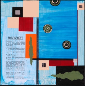 LP No. 10.  Randell Neudorf (c) 2005  Acrylic Paint & Collage on Canvas  12x12in.
