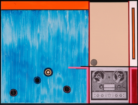 Four Track No. 1. Randell Neudorf (c) 2006 Acrylic Paint & Collage on Canvas 30 x 40 in.
