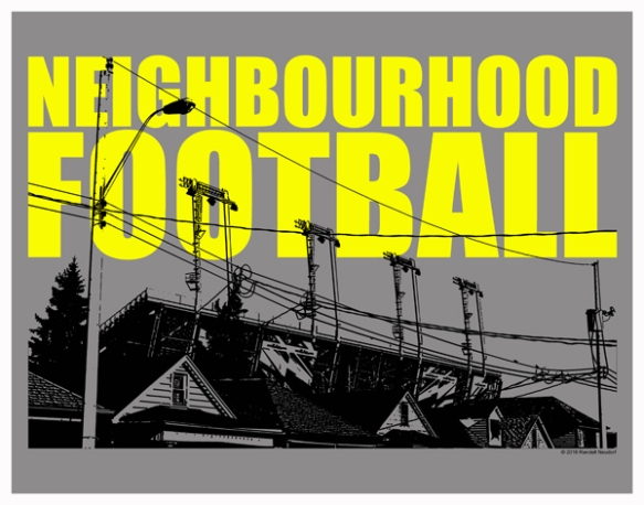 Neighbourhood Football Poster - grey black and yellow - small web size